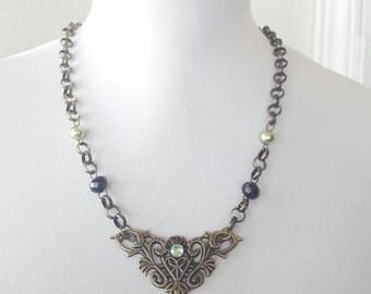 Victorian beaded necklace, Victorian bronze necklace, necklace, Women's necklace, Goth Jewelry, Halloween jewelry, Bib Necklace,