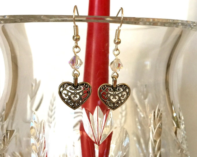 Elegant Crystal and Filigree Heart Earrings, Antique Silver Earrings, Crystal Drop Earrings, Romantic Earrings, Gift for Her.