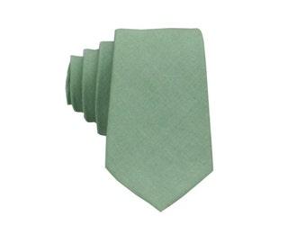 Dark Mint Linen Tie.Mens Necktie.Mint Green Wedding Tie.Mint Linen Skinny Tie.Standard or Extra Long