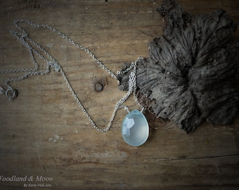 Chalcedony necklace, Chalcedony jewelry, Gemstone Necklace, Sterling Silver, sea blue pendant, Gemstone pendant, light blue jewelry