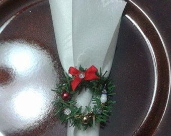 CHRISTMAS WREATH NAPKIN Ring/ Table top decor, Any quantity available