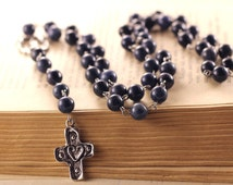 Dark blue rosary Dumortierite beads necklace Casual girls long necklace Navy blue handmade rosary Gemstone religious beads Modern jewerly