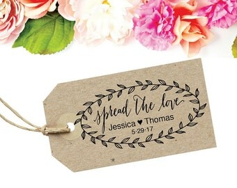 Spread The Love Stamp - Bridal Shower Favor Tag - Jam Favor Tag - Spread The Love Jam Label - Custom Wedding Favor Tag - Spread The Love Tag