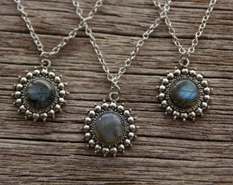 Silver Labradorite Necklace / Labradorite Jewelry
