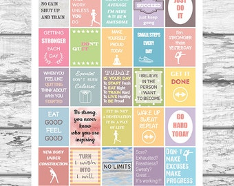 Fitness and Diet Motivational Stickers, Printable Workout Stickers, fits Erin Condren Planner, Quotes Instant Download Stickers, Gym