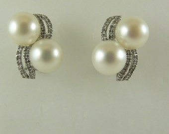 Freshwater White 9.3 MM Pearl Earrings 14k White Gold and Diamonds 0.26ct