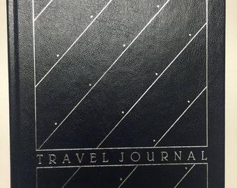 Vintage Travel Journal, Hallmark Hardback Journal, Navy Blue, Silver Foil