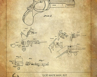 Samuel Colt Patent Art Print - Revolving Gun Patent Print - Colt Paterson Patent Art Print - Firearm Patent - Handgun Patent Print - Pistol