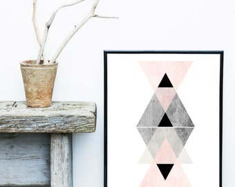 Affiche Scandinave, Geometric Wall Art, Pink And Grey Art, Minimalist Art, Abstract Art Print,   Art Print, Giclee print, Wall Art, Poster