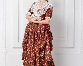 Robe a la polonaise, woman dress of 18th century, Europe.