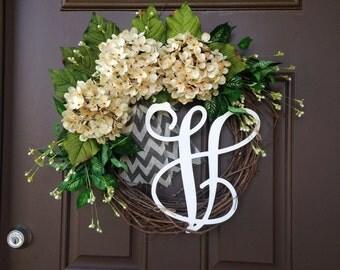 Summer Wreath for Front Door - Wreath - Cream Hydrangea Wreath with Burlap - Outdoor Grapevine Wreath with Monogram - Front Door Decor -Gift