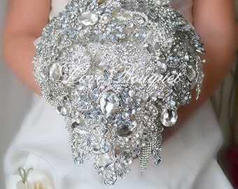 Royal Wedding Bouquet, Bridal Brooch Bouquet, Silver Gray Wedding Bouquet, Bling Wedding Bouquet, Diamond Wedding Bouquet Bridal Accessories