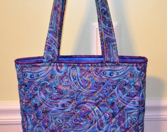 Purple/Blue Paisley Tote  (small)