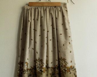 Vintage botanical print midi skirt