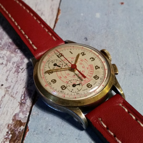 Rego Sport Vintage Telemeter Watch. Gold Vintage Watch, Dual Subdial. Vintage Dual Dial Watch. Mens Gold Watch.  Red Strap.