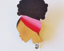 ID BADGE REEL Retractable Holder Hand Painted Red Pink Ombre Afro Bun Wood Custom Professional Fun Nurse Doctor Hospital Work