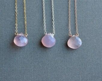 Lavender Pink Chalcedony Necklace Rose Gold Filled Sterling Silver Choose Length Gemstone Pendant Briolette Tear Drop Stone Simple Necklace