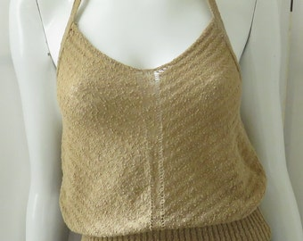 "Designer ""Dries Van Noten"" Light Clay Colored Knit Halter Top w/ Open Work & Tie."