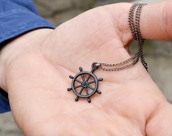 Cyber Monday Sale Mens necklace mens pendant Mens black Necklace Helm Necklace Ship Wheel Necklace Nautical Necklace Men's Jewelry For Men N