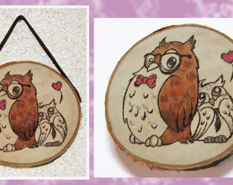 OwLove U! Owl Woodburning Coaster/Picture