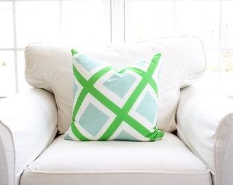 Utter Bliss Pillow Cover | Green & Blue | Geometric | Funky| Diamonds | 18x18