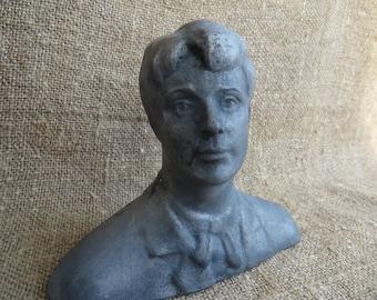Esenin bust statue. Soviet sculpture. Russian metal figurine. USSR. Russian poet. Metal casting in Russia.