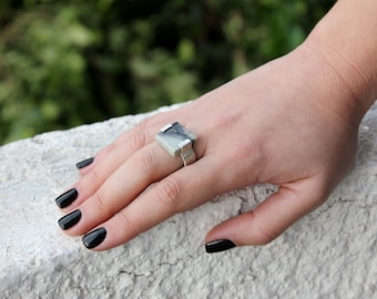 silver square ring, geometric ring, marble ring, jasper ring,sterling silver ring , architectural ring square stone statement ring