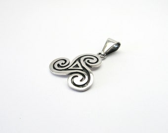 Large Triskele Triskilian jewelry pendant Celtic 925 solid silver