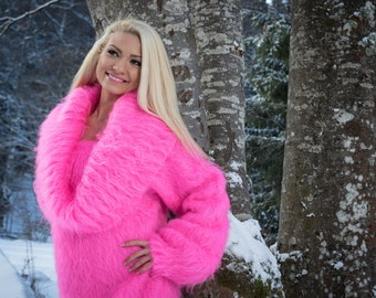 TO ORDER Pink Neon Mohair Sweater Fuzzy Soft Sweater Hand knitted Cowlneck Pullover by TanglesCreations