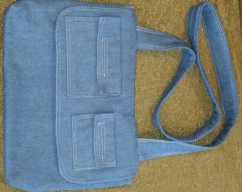Large Blue Denim Messenger Bag