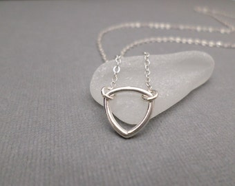 Small Triangle Necklace ~ Free Shipping ~ Inverted Silver Triangle ~ Symbolic Jewelry ~ Geometric Modern ~ Upside Down Triangle Necklace