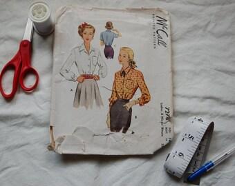 Vintage McCall 7274, 1940's women's shirt pattern, Size 16, Bust 34