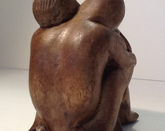 Rustic Hand-Carved Man and Woman Embracing Sculpture! NEW PRICE 6/11!