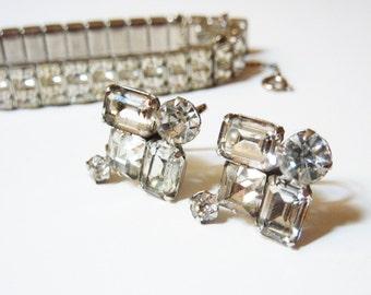 Vintage Clear Rhinestone Earrings 1920s