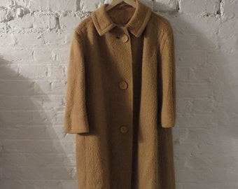 Vintage 50s Cute Mustard Yellow Swing Coat with Buttons - UK 10 EU 38 US 6 - Mad Men Style