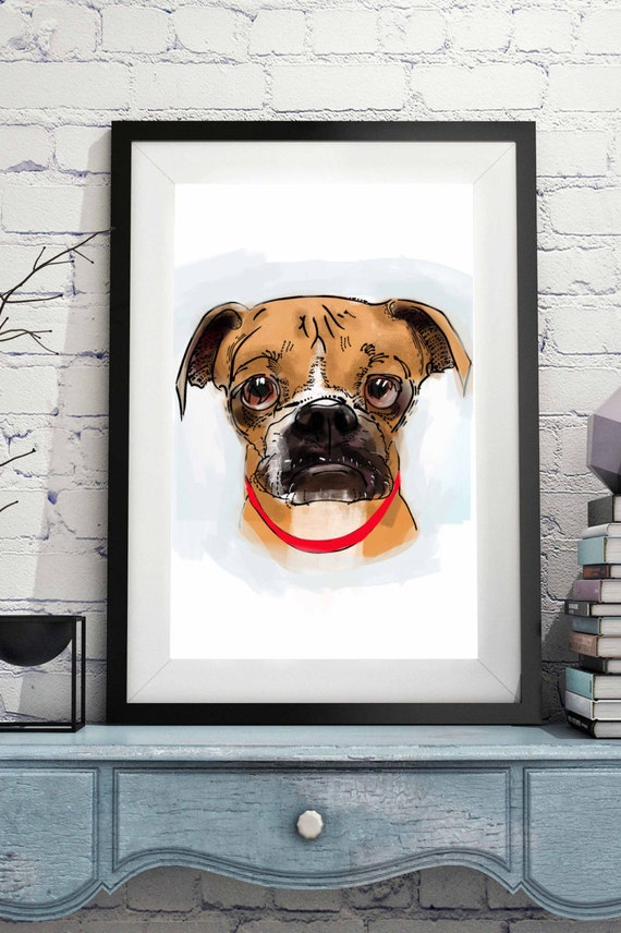 Custom dog portrait funny- Dog portrait- 8x10 Personalized dog painting- Pet cartoon portrait print- Digital sketch- Printable pet drawing