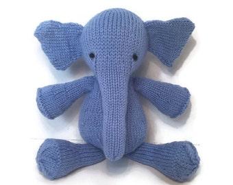Blue Elephant Doll, Stuffed Elephant, Wool Toy, Baby Elephant Toy, Elephant Plush, Knit Stuffed Animal, Cute Soft Toy, Baby Boy Gift