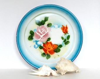 vintage enamel tray serving tray floral enamel serving plate picnic tray