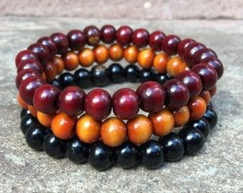 3 Pc Set! Yoga Tibetan Wood Bracelet Set - Redwood + Blackwood + Yellowwood - Meditation Positive Energy Healing Bracelets