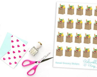 Kawaii (Optional) Grocery Shopping Reminder Planner Stickers for Erin Condren, Plum Planner, Inkwell Press, Kikki K or Any Size Planners