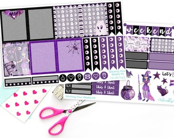 Vertical Witching Hour Halloween Weekly Planner Sticker Kit for Erin Condren, Plum Planner, Inkwell Press or Filofax Planners