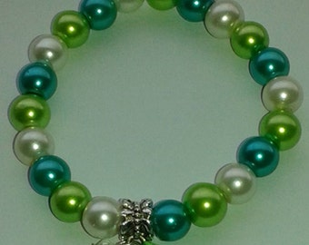 Green Kidney Cancer Awareness small 6.5inch stretchy bracelet