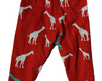 100% Organic Cotton Knit Red Giraffe Pants