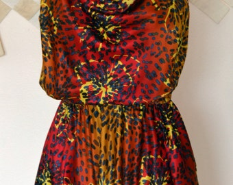 Sunset Dress with Pockets//Satin//Flower Print//Cowl Neckline//Free Flowing//Circle Skirt//California