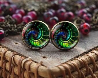 Colorful Fractal stud earrings, Fractal earrings, Fractal jewelry, spiral earrings, green earrings, glass dome stud earrings