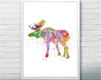 Moose Watercolor Art Print  - Watercolor Painting - Home Decor - Animal Watercolor Art Painting - Moose Poster - House Warming Gift [1]