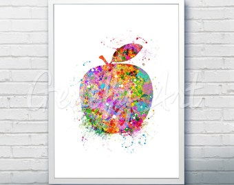 Apple Watercolor Art Print  - Fruit Watercolor Art Painting - Apple Poster - Kitchen Decor - Home Decor - House Warming Gift
