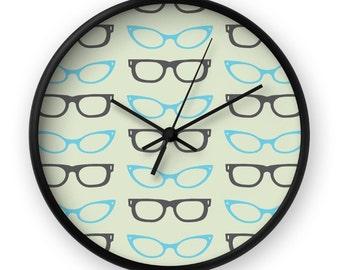 Eyeglasses Clock - Eyeglasses Wall Clock - Retro Wall Clock - Retro Clock - Mid Century Clock - Mid Century Wall Clock - Vintage Clock