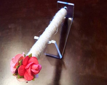 Ombre Pink Rose Jute-wrapped Rustic Wedding Guest Book Handmade Flower Pen ITEM 237
