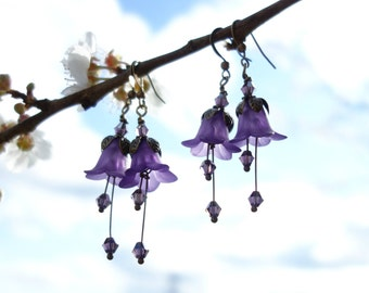 Amethyst Earrings - Flower Earrings - Floral Earrings - Woodland Earrings - Purple Earrings - Dangle Drop Earrings - Vintage Style Boho Gift